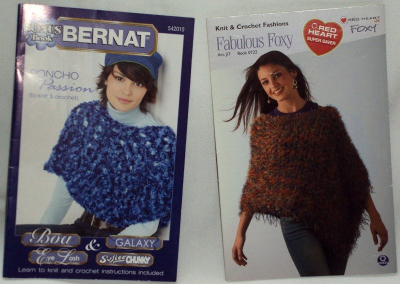 Fabulous Foxy & Poncho Passion by Bernat & Red Heart (2) Booklet Set Dated 2004 & 2005
