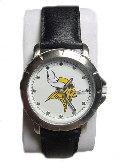 Men's NFL Minnesota Vikings Leather Band Watch