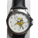 Men's NFL Minnesota Vikings Leather Band Watch