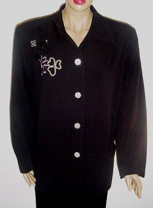 RUSSELL KEMP Black Embroidered & Beaded Jacket SZ 18