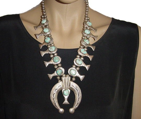 VINTAGE Native American Squash Blossom Necklace