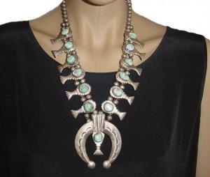 VINTAGE Native American Squash Blossom Necklace