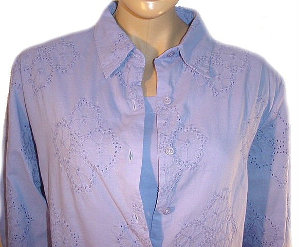 DENIM AND COMPANY Embroidered Big Shirt and Solid Tank Top SZ 1X