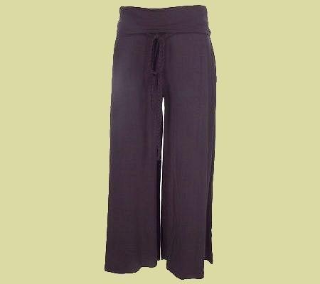 B By BERNARDO Brown Foldover Waist Knit Gauchos with Tie Belt SZ 3X