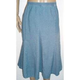 DENIM AND COMPANY Stretch Denim Flared Skirt w/ Seam Detail SZ 3X