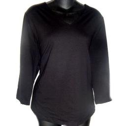 JONES STUDIO Black 3/4 Sleeve Stretch V-neck T-shirt SZ 1X
