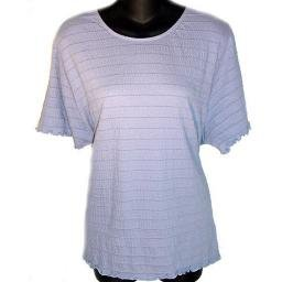 MODERN SOUL Stretch Pucker Knit T-shirt with Ruffled Edges