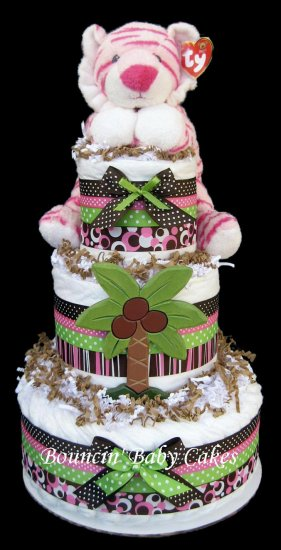 Queen Of The Jungle Diaper Cake Baby Shower Centerpiece