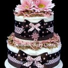 2 Tier Pink and Brown Polka Dot Baby Shower Diaper Cake