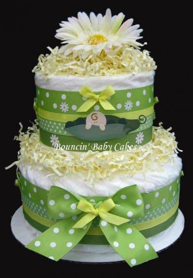 2 Tier Pea in a Pod Baby Neutral Diaper Cake