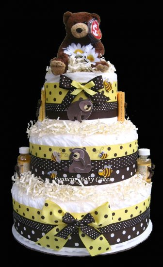 Burt S Bees Teddy Bear Diaper Cake Baby Shower Centerpiece