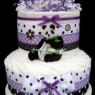 2 Tier Unique Purple Panda-licious Diaper Cake