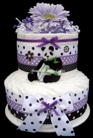 2 Tier Unique Purple Panda-licious Diaper Cake