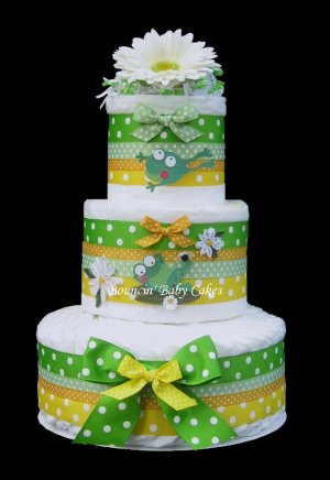 Froggy Frog Baby Shower Diaper Cake/ Centerpiece Gift