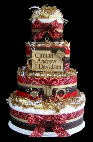 4 Tier Personalized Western - Cowboy Baby Shower Diaper Cake/ Centerpiece Gift