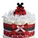1 Tier Modern Ladybug Baby Shower Diaper Cake Centerpiece