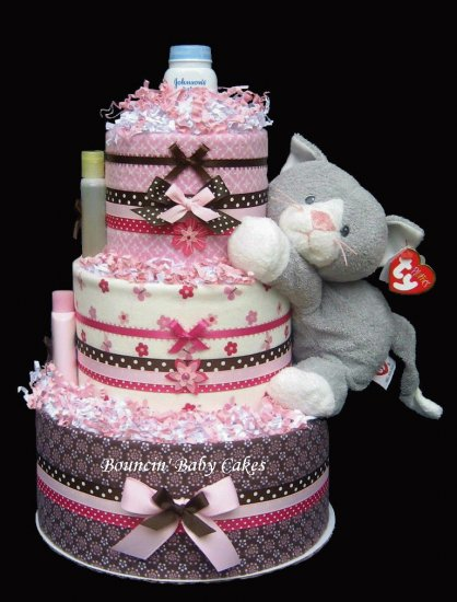 Curious Kitty Baby Shower Diaper Cake/ Centerpiece Gift