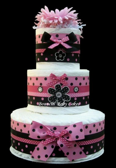 3 Tier Sassy Girl Pink And Black Baby Shower Diaper Cake