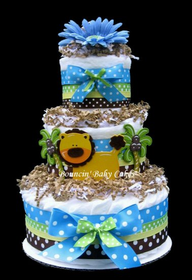 King Of The Jungle Diaper Cake Baby Shower Centerpiece