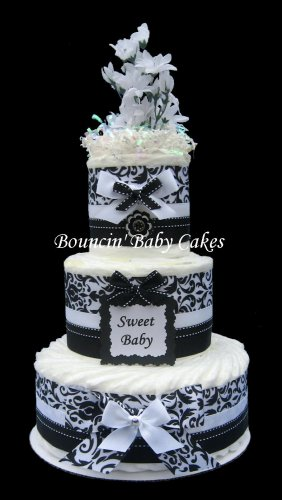 Sweet Baby Black And White Damask Baby Shower Diaper Cake