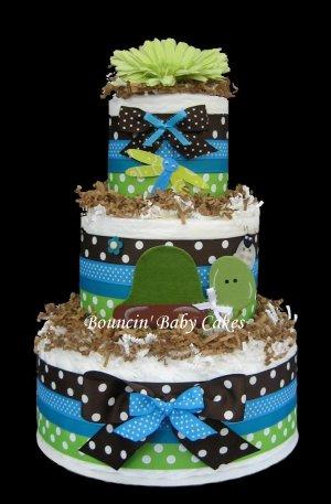 Turtle Pond Baby Shower Diaper Cake Centerpiece