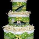 3 Tier Sweet Pea Baby Shower Diaper Cake Centerpiece
