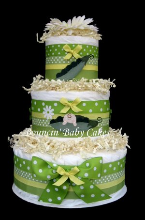 3 Tier Sweet Pea Baby Shower Diaper Cake Centerpiece