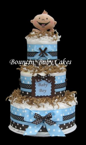 Modern Baby Boy - Blue and Brown Baby Shower Diaper Cake