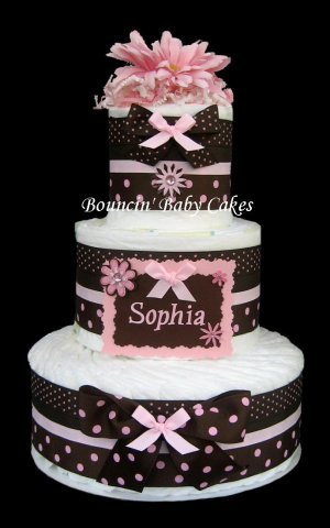 Personalized Mod Baby Girl Diaper Cake