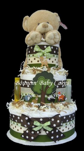 Enchanted Forest Animals Baby Shower Diaper Cake Centerpiece