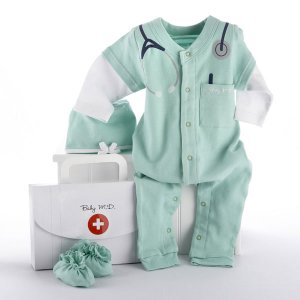 """""""Big Dreamzzz"""" Baby M.D. Two-Piece Layette Set in """"Doctor's Bag"""" Gift Box"""