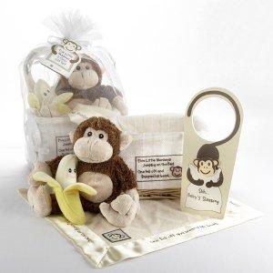 """""""Five Little Monkeys"""" Five-Piece Gift Set in Keepsake Basket"""