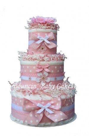 Pink/ White Polka Dots - Baby Girl Diaper Cake