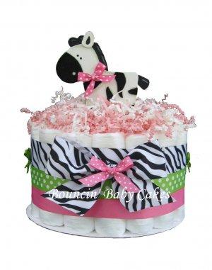 1 Tier Sassy Zebra Girl Baby Shower Diaper Cake