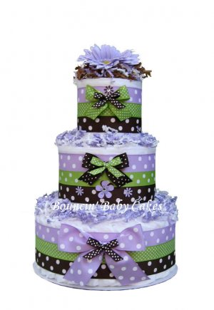 Polka Dot Momma (Lavender, Brown and Green) Baby Shower Diaper Cake
