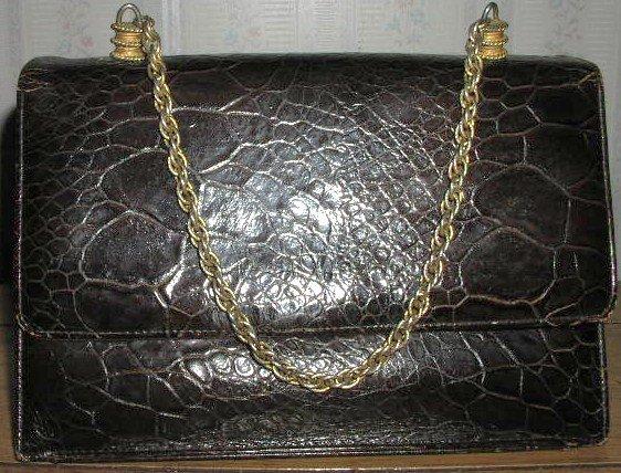 Vintage 1940's Turtleskin Purse with Chain Strap