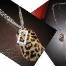 Multi Long Crystal Leopard Plate Layered Bead Chain Necklace-Silver (FREE Shipping)