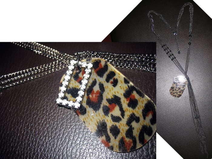 Multi Long Crystal Leopard Plate Layered Bead Chain Necklace-Gold (FREE Shipping)