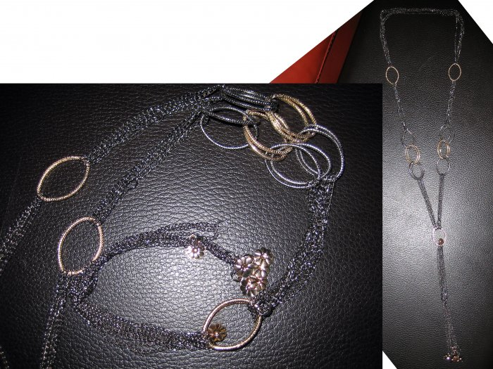 Multi Layered Long Chain Interlocking Ring Flowers Necklace-Gold/Gray/Silver (FREE Shipping)