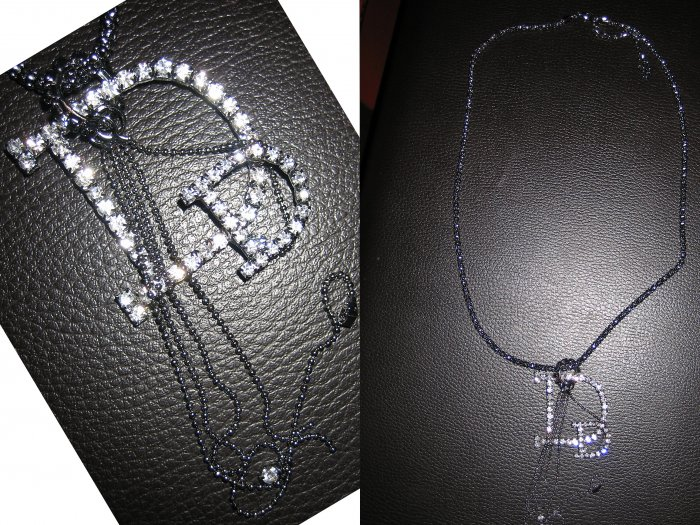 Long  Interlocking Ring Multi Charm Lariat Letter D Crystal Pendant Necklace-Gray (FREE Shipping)