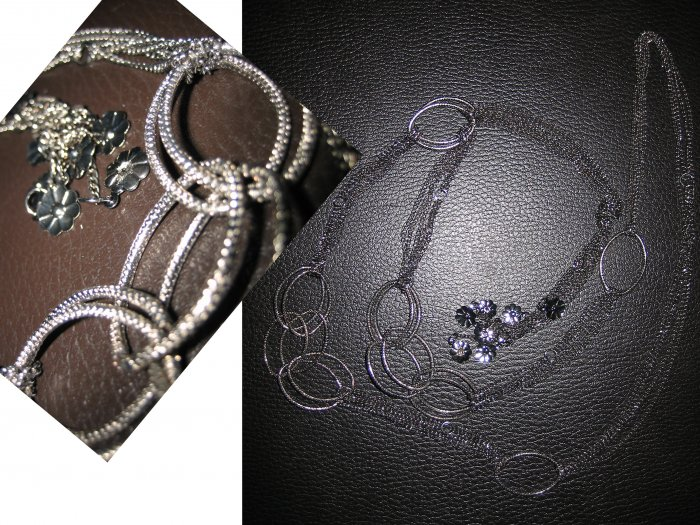 Multi Layered Long Chain Interlocking Ring Flowers Necklace-Silver (FREE Shipping)