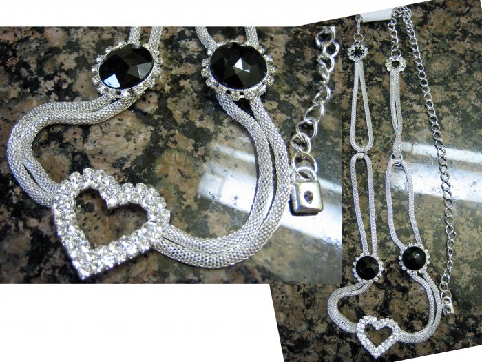 Mini Lock Charm Crystal Heart Round Black Stones Pendant Necklace-Silver(FREE Shipping)