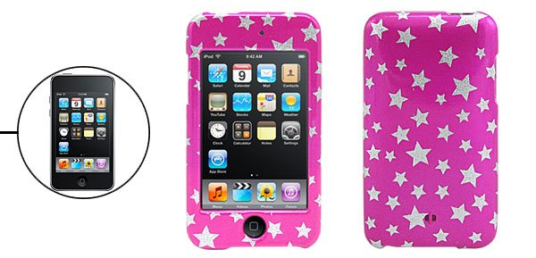 Silvery Star&Pinkish Hard Plastic Case for iPod Touch 2nd Generation�Free Shipping to Worldwide�