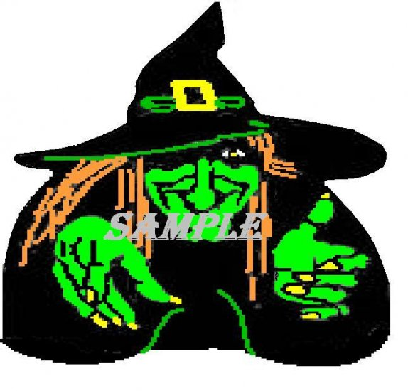 Green Witch Halloween Die Cut Window Prop