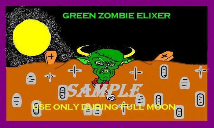 Green Zombie Elixer Halloween Bottle Label Prop