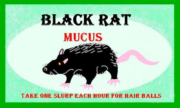 Black Rat Mucus Halloween Bottle Label Prop
