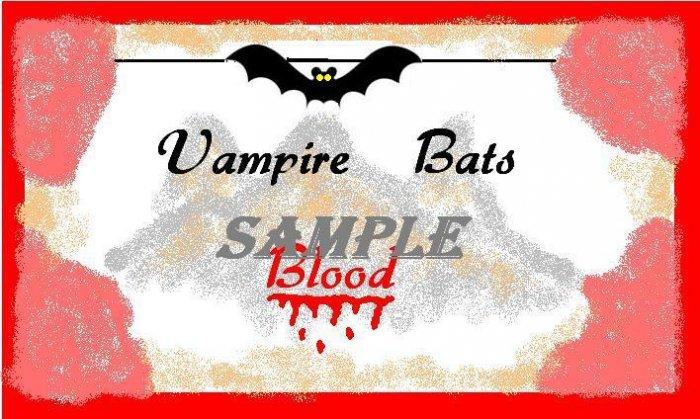 Vampire Bats Blood Halloween Bottle Label Prop