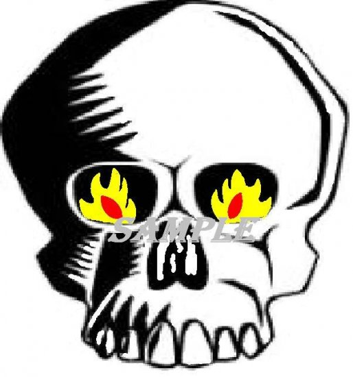 Flaming Skull Halloween Die Cut Window Prop