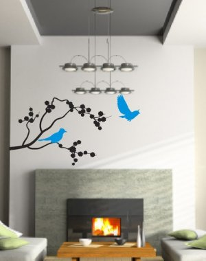 Blue Jays on a branch Wall Mural Decal Sticker Home Decor