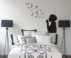 Boy Blowing Music Notes Wall Decal Sticker Bubbles Nursery Kid Room